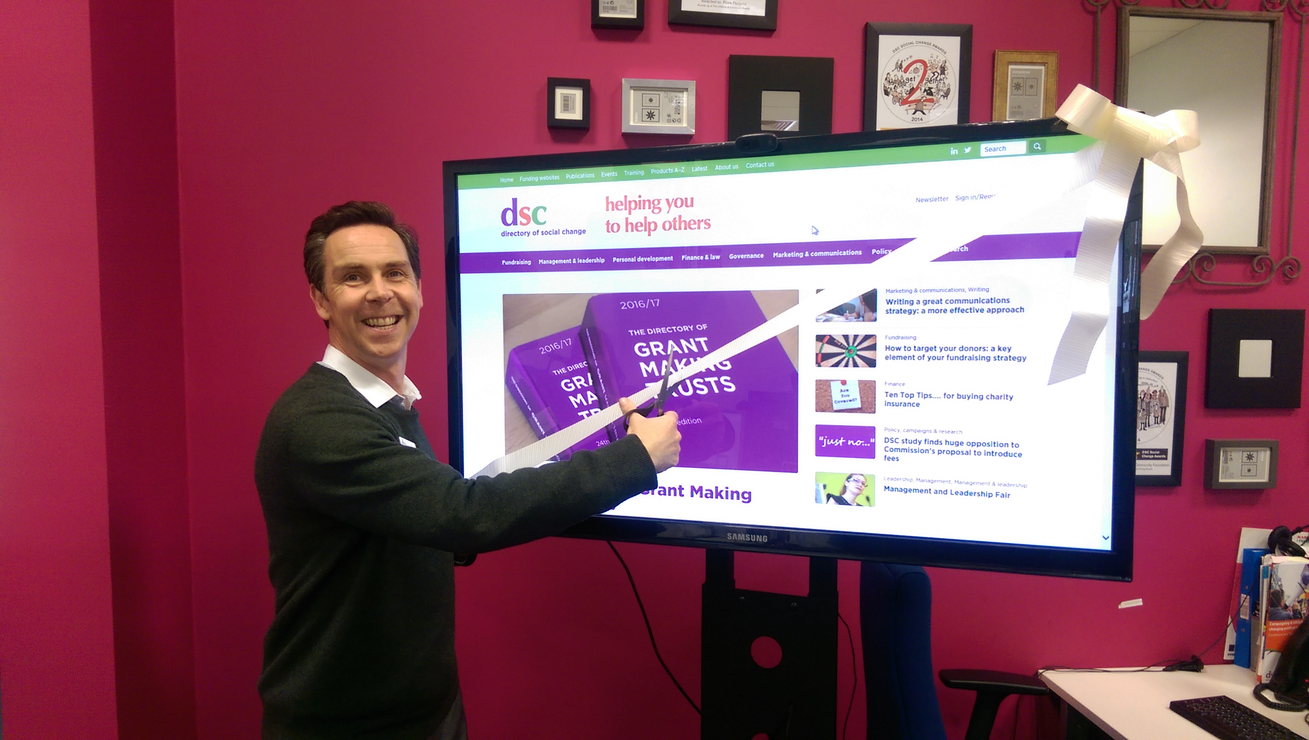 DSC's Marketing Director cuts the ribbon on the new DSC website