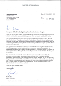 View the Mayor of London's full letter hereBig Lottery Fund